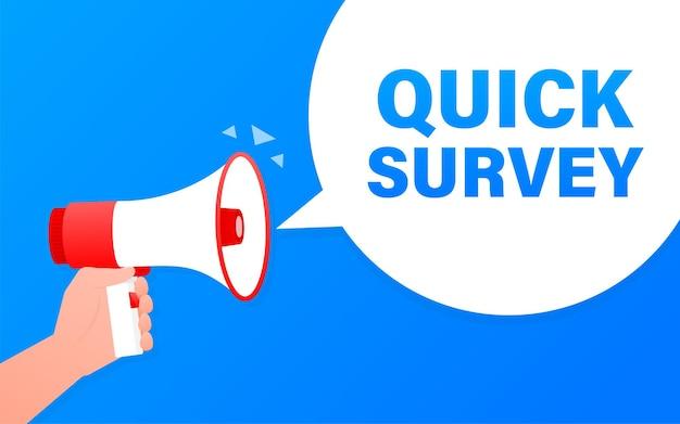 Quick survey megaphone blue banner.   illustration.
