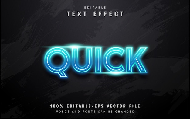 Quick text, blue neon style text effect