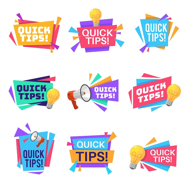 Quick tip helpful tricks and advice blog post badges with idea light bulb