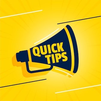 Quick tips backgorund with megaphone