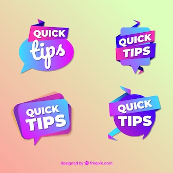 Quick tips badges collection in flat style