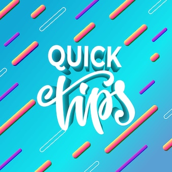 Quick tips banner design. vector illustration.