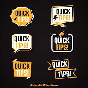 Quick tips collection in flat style