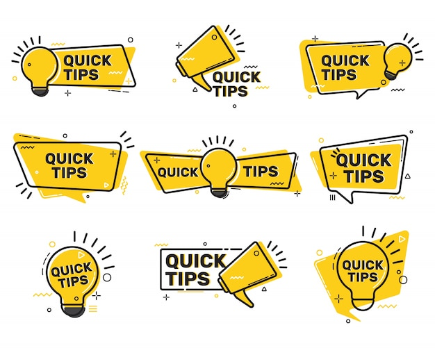 Quick tips flat labels collection