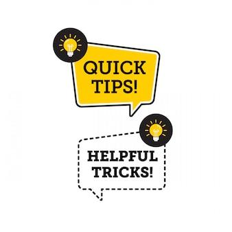Быстрые советы, полезные трюки векторный логотип значок или символ с черным и желтым цветом и элементом лампочки