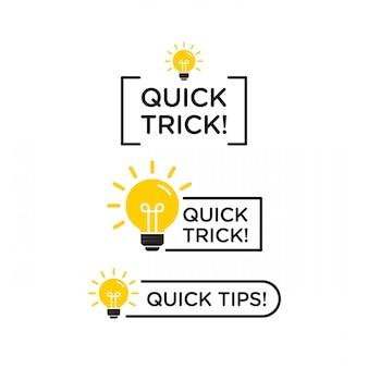 빠른 팁, 유용한 트릭 벡터 로고 아이콘 또는 검정색과 노란색 색상 및 전구 요소로 설정된 기호