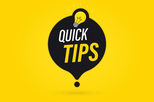 Quick tips, helpful tricks vector logos, emblems and banners. quick tips badge with light bulb and speech bubble. helpful idea, solution and trick