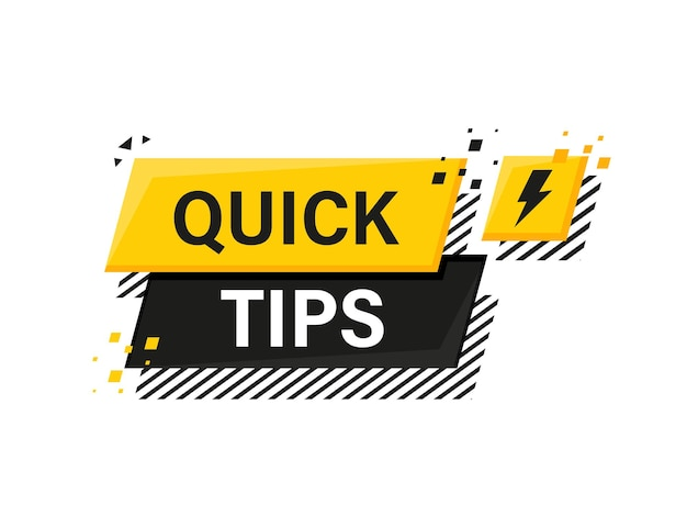 Quick tips megaphone yellow banner in 3d style on white
