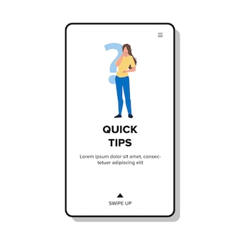 Quick tips searching confused young woman vector. girl with question mark need quick tips for resolve problem. character lady professional advice and assistance web flat cartoon illustration