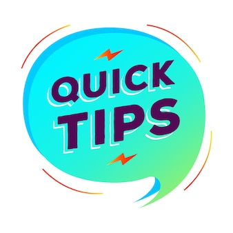Quick tips speech bubble vector modern gradient style for tooltip badge solution and advice banner