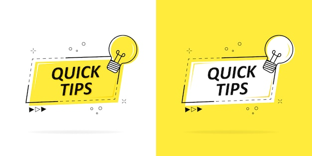 Quick tips with a logo, badge or character set in black and yellow and a light bulb for web design.