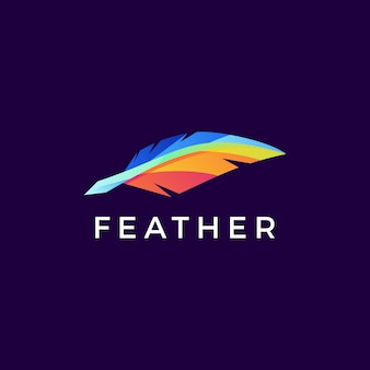 Quill feather pen colorful logo icon illustration