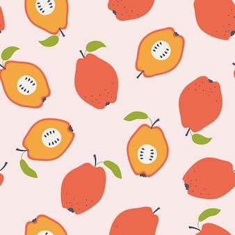 마 르 멜로 사과 완벽 한 패턴입니다. 분홍색 배경에 그려진 손