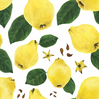 Quince fruits and leaves and seeds seamless pattern