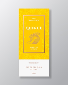 Quince home fragrance abstract vector label template hand drawn sketch flowers leaves background and...
