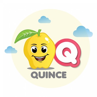 Quince mascot with letter q