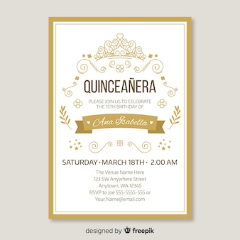Quinceanera golden invitation template