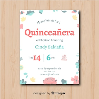 Quinceanera hand drawn flowers invitation template
