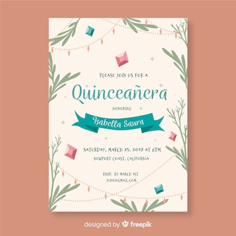 Quinceanera hand drawn leaves invitation template