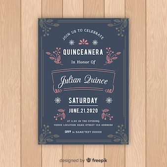 Quinceanera leave ornaments invitation template
