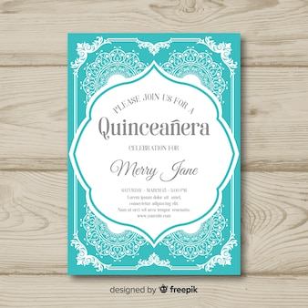 Quinceanera overloaded ornaments invitation template