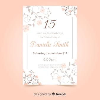 Quinceañera party invitation card