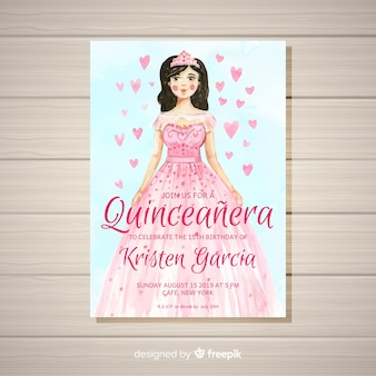 Quinceañera  party invitation with a girl