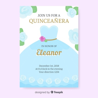 Quinceañera  party invitation with blue dress