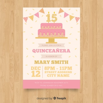 Quinceañera  party invitation with cake
