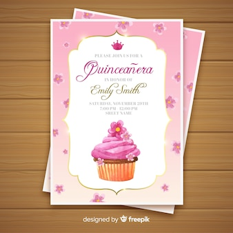 Quinceañera  party invitation with cupcake