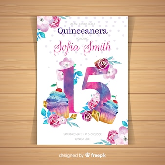 Quinceañera  party invitation with cupcakes