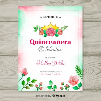 Quinceañera  party invitation with flowers