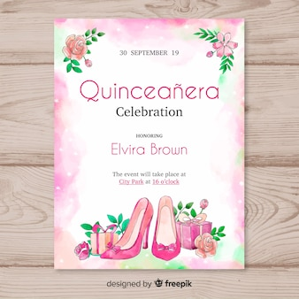 Quinceañera  party invitation with high heels