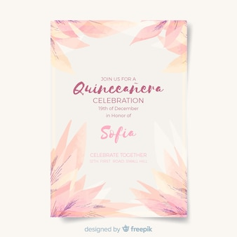 Quinceañera  party invitation with leaves