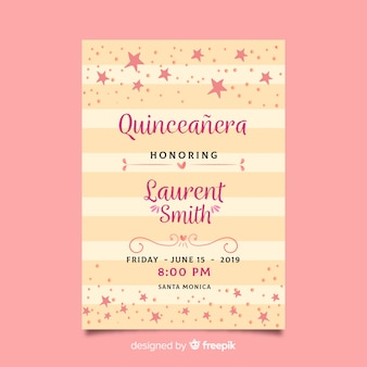 Quinceañera  party invitation with pink stars