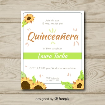 Quinceañera  party invitation with sunflowers