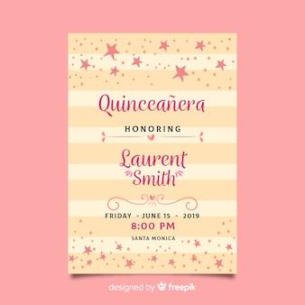 ピンクの星付きquinceañeraパーティー招待