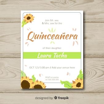Приглашение на вечеринку quinceañera с подсолнухами