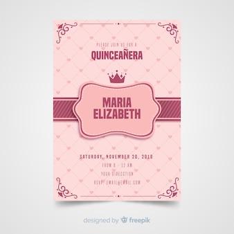 Quinceaneraの心の招待状テンプレート