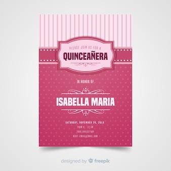 Quinceaneraのドットの招待状テンプレート