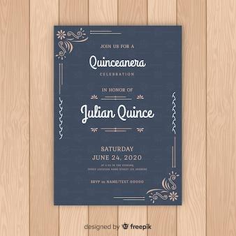 Quinceanera花の装飾品の招待状テンプレート