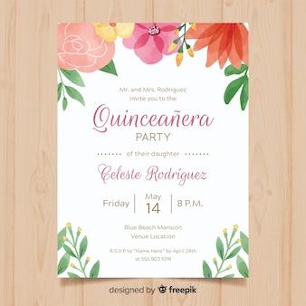 手描きの植物quinceaneraカードテンプレート