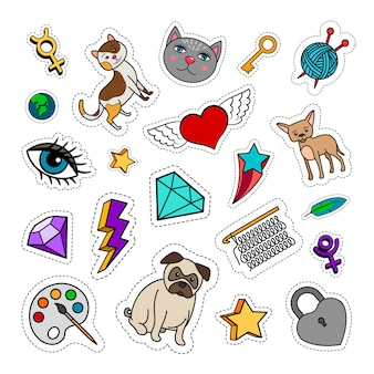 Quirky fashion patches set with animals, diamond, heart and key. vector stickers collection
