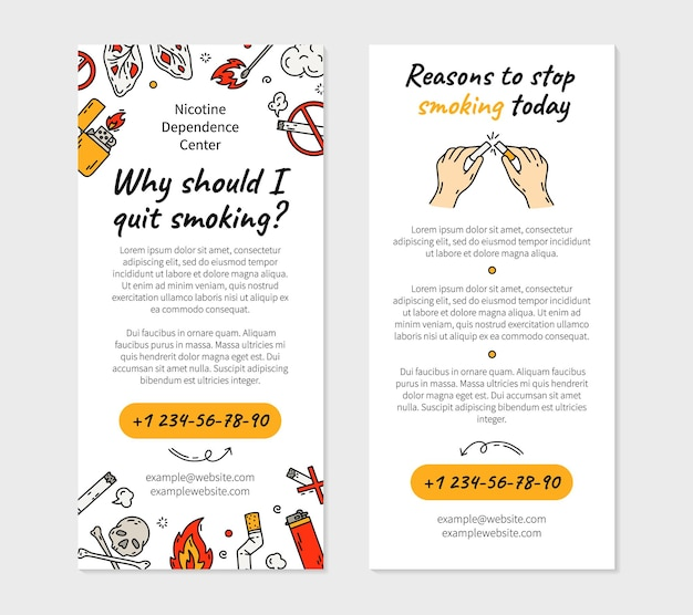 Quit smoking cigarette flyer in doodle style illustration