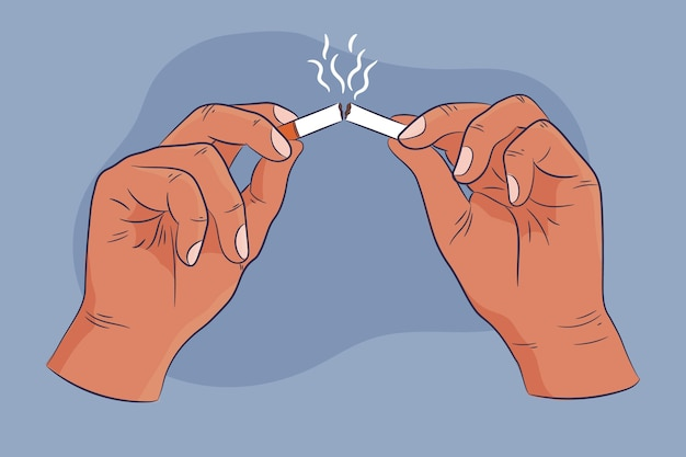 Бросить курить концепция рисованной иллюстрации