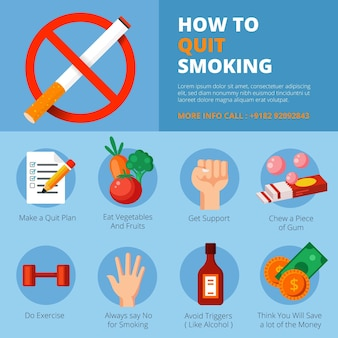 Quit smoking infographic template