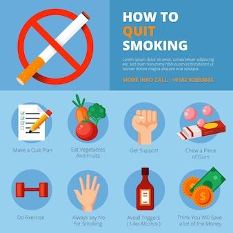 喫煙をやめるインフォグラフィックテンプレート