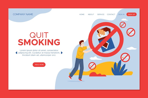 Quit smoking landing page with forbidden sign