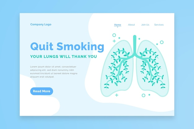 Quit smoking landing page with lungs