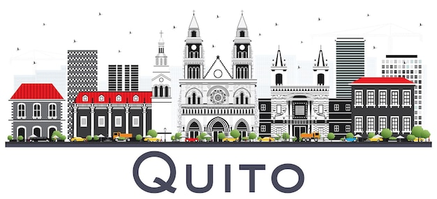 Quito ecuador city skyline with gray buildings isolated on white. vector illustration. business travel and tourism concept with historic architecture. quito cityscape with landmarks.